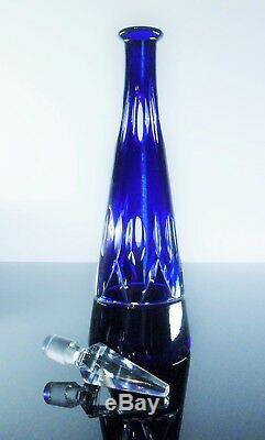 Ancienne Carafe En Cristal Double Couche Bleu Taille St Louis Art Déco