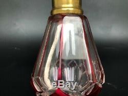 Ancienne Lampe Berger Cristal De Saint Louis Rouge