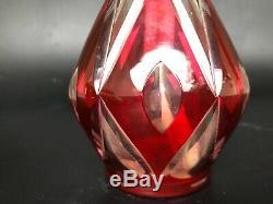Ancienne Lampe Berger Cristal De Saint Louis Rouge Losanges