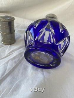 Ancienne Lampe Berger En Cristal De Saint Louis Bleue Nº3