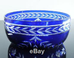 Ancienne Saladier Coupe Cristal Couleur Bleu St Louis Catalogue 1930 Etiquet