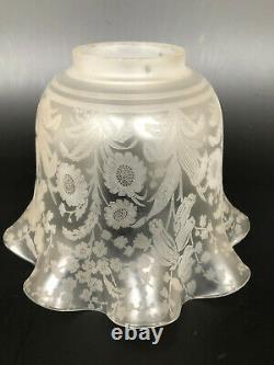Ancienne Tulipe Lampe A Petrole Cristal Saint Louis Decor Floral Signé #1