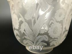 Ancienne Tulipe Lampe A Petrole Cristal Saint Louis Decor Floral Signé #2
