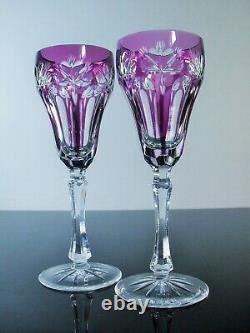 Anciennes 2 Flutes A Champagne En Cristal Double Couleur Taille St. Louis