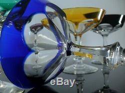 Anciennes 6 Coupes A Champagne Cristal Couleur Bristol Baccarat St Louis Moser