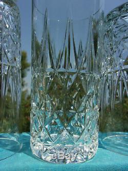 Anciennes 6 Gobelets A Eau Orangeade Cristal Taille Modelé Tarn St Louis Signe