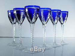 Anciennes 6 Verres A Vin Cristal Couleur Bleu Taille St Louis Catalogue 1930