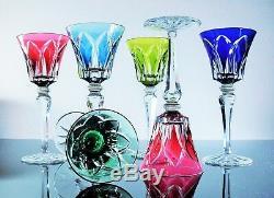 Anciennes 6 Verres A Vin Du Rhin Cristal Couleur St Louis Camargue Signe