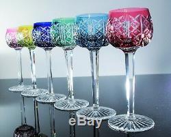 Anciennes 6 Verres A Vin En Cristal Couleur Taille Riesling St Louis Signe