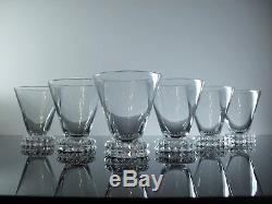 Anciennes 6 Verres A Vin En Cristal Modelé Diamant St Louis