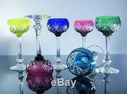Anciennes 6 Verres A Vin, Rhin Cristal Couleur Taille Massenet St Louis