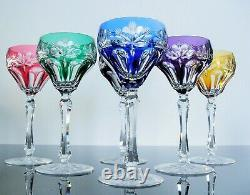 Anciennes 6 Verres Coupes Vin Martini En Cristal Couleur Taille St. Louis