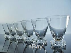 Anciennes 6 Verres Cristal Taille Modelé Pointe Diamant St Louis Signée