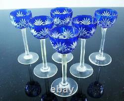 Anciennes 6 Verres Digestif Liqueur Cristal Double Couleur Bleu Taille St Louis