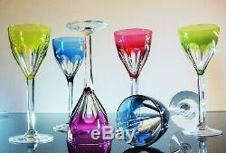 Anciennes Grand 6 Verres Cotes Plates Cristal Couleur Bristol St Louis Baccarat
