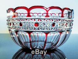 Art Déco Ancienne Coupe Centre De Table Cristal Couleur Rouge Taille St Louis