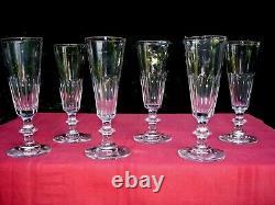 Baccarat Saint Louis Caton Flutes A Champagne Cristal Taillé Cotes Plates 19ème