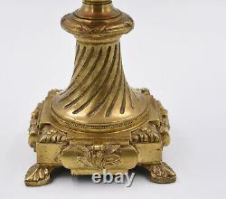 Baccarat Saint Louis Lampe A Petrole Bronze Cristal Degage A L Acide Decor Mures