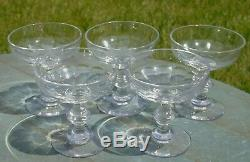 Baccarat Saint Louis Lot de 5 coupes à champagne en cristal taillé. XIXe s. Ta