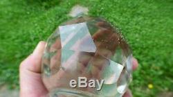 Boule d'escalier ancienne à facettes cristal blanc Baccarat, Saint-Louis