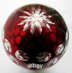 Boule d'escalier cristal rouge à pois, socle bronze + platine, Baccarat St Louis