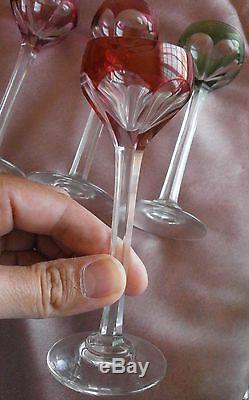 Carafe & 4 verre à liqueur cristal overlay vert & rubis / blanc Saint Louis