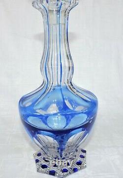 Carafe En Cristal Couleur Bleu De Baccarat Ou St Louis Bleu Pierreries Diamant