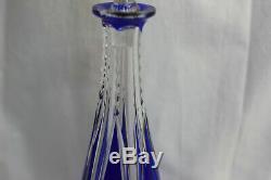 Carafe en cristal à facettes de couleur bleu St Louis ou Baccarat
