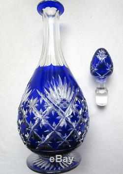 Carafe piriforme cristal bicolore taillé, bleu cobalt et blanc Saint LOUIS