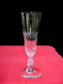 Clermont 6 Flute A Champagne Cristal Taillé Cotes Plates 19ème St Louis Baccarat