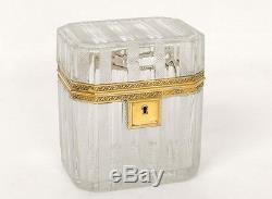 Coffret boîte Charles X argent vermeil cristal Saint-Louis Baccarat XIXème