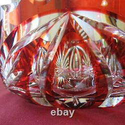 Coupe saladier centre de table en cristal de saint louis de couleur rouge Ø 22,5