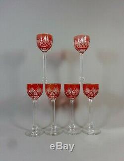 Cristal Saint Louis Service Liqueur Massenet, Carafe & Six Verres Roemer Taillés