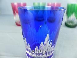 Cristal de SAINT-LOUIS lot de 6 chopes verres modèle ORLEANS couleurs doublés