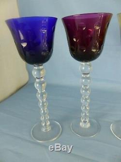 Cristal de SAINT-LOUIS lot de 6 grands verres couleurs modèle BUBBLES 24,3 cm