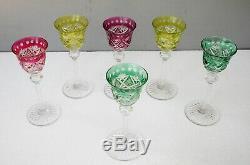 Cristal de Saint Louis 6 verres couleur signés