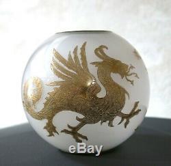 DRAGON par St LOUIS, globe en cristal pour lampe à pétrole, globe saint louis