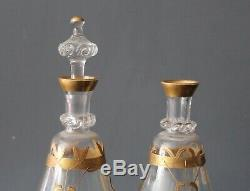 Ensemble à liqueur en cristal de baccarat ou saint louis 2 carafes et 8 verres