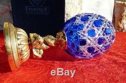 Faberge Imperial-Sculpture-Oeuf Collector-Cristal Saint-Louis-Plaqué Or (26 cm)
