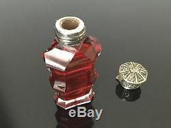 Flacon A Sels Cristal Rubis BACCARAT ST LOUIS Monture Argent XIXè Ruby Crystal