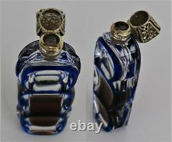 Flacon à Parfum Cristal Baccarat Saint Louis Doublé Bleu Argent Vermeil 19ème