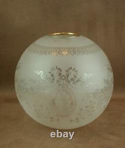 GLOBE ANCIEN DE LAMPE A PETROLE EN CRISTAL DECOR PORTRAIT BACCARAT ST LOUIS XIXe