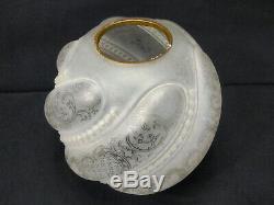 Globe 19 Eme Lampe Petrole Decor Floral Et Perle Cristal Saint Louis