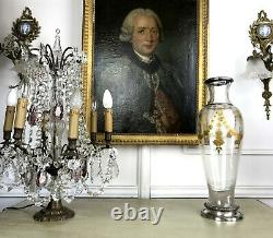 Grand Vase En Cristal De Baccarat Ou Saint Louis A Decor De Fleurs En Dorure