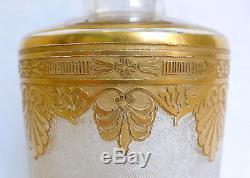 Grand flacon à parfum en CRISTAL DE ST LOUIS, modèle NELLY Empire doré 19cm