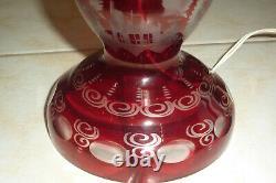 Grande lampe en cristal de bohème taillé (val st lambert -st Louis -baccarat)