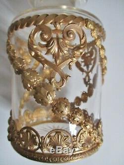 Gros flacon en cristal bronze ou laiton doré XIXe Baccarat St Louis