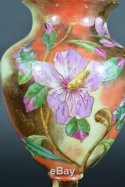 Important vase cristal signé Saint Louis Opaline Or Fleur Mésange Nap 3 Glass