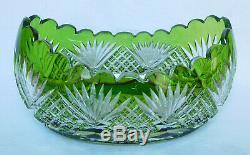 Jardinière en CRISTAL DE SAINT LOUIS, cristal OVERLAY VERT chartreuse
