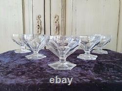 Jolie Serie 6 Coupes A Champagne En Cristal De Saint Louis Poincare Art Deco N°2